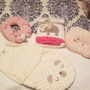 Lot of various baby girl items including wrap